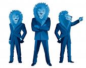 Three lion businessmen mascots in different poses poster