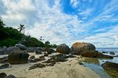 tropical beach Anse Nord Est in the north of Mahe, Seychelles beach poster