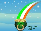 Vector illustration of St. patrick's pot with gold coins and flag of ireland for St. Patrick's Day. poster