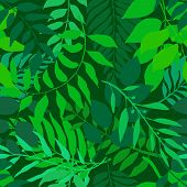 Bright green seamless background with fresh leaves. Various foliage repetitive pattern. Vector illustration for your graphic design. poster