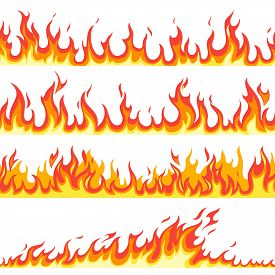 Seamless Fire Flame. Fires Flaming Pattern, Flammable Line Blaze Hot Temperature, Gas Blazing Wallpa