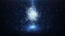 Artificial Intelligence Brain Animation, Big Data Flow Analysis, Deep Learning Modern Technologies C