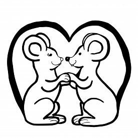 Black White Vector Illustration. Two Mouses Sit Facing Each Other And Hold On To Their Paws. Templat