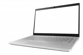 Laptop Computer Pc With Blank Screen Mock Up Isolated On White Background. Laptop Isolated Screen Wi