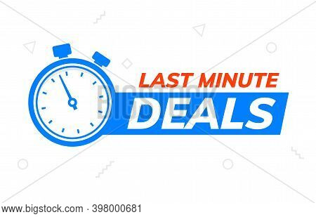 Last Minute Deal Promo Banner. Special Last Minute Offer Buy Logo Icon Countdown