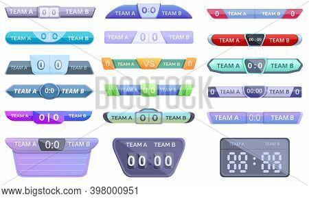 Scoreboard Icons Set. Cartoon Set Of Scoreboard Vector Icons For Web Design