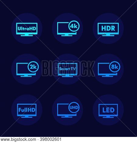 Ultra Hd Tv, Full Hd, 4k, 8k Video And High Definition Icons Set