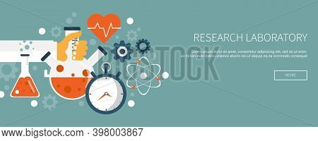 Laboratory Equipment Banner. Concept For Science, Medicine And Knowledge. Research Concept. Flat Vec