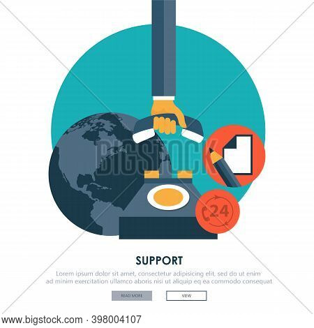 Live Support Banner. Business Customer Care Service Concept. Icons Set Of Contact Us, Support, Help,