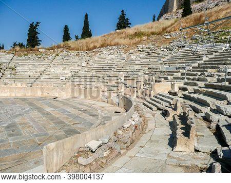 The Theatre Of Dionysus Eleuthereus Of The Athenian Acropolis. Athens, Greece. Ancient Greek Amphith