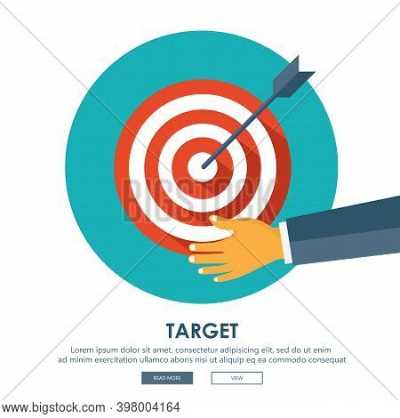 Business Strategy. Target And Arrow. Modern Flat Design Concept For Web Banners, Web Sites, Printed