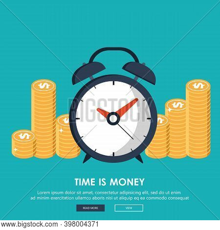 Flat Time Is Money Concept Background. Money Saving. Time Management