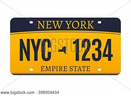 New York Licence Plate. American Metal Vehicle Registration