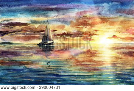 Beautiful Watercolor Sea Landscape Illustration With Sunset, Sky And Clouds, Ship, Vessel, Boat In O