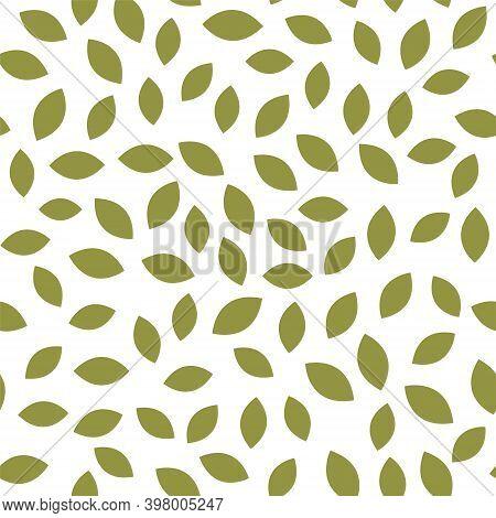Leaf Seamless Pattern Vector Plant Background. Nature Flat Leaf Herb Green Soft Vine Pattern