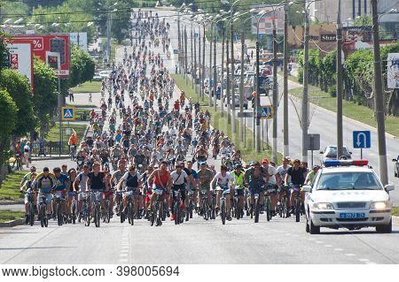 May, 25, 2014, Russia, Magnitogorsk. A Column Of Participants In A Large Open Bike Ride On The City