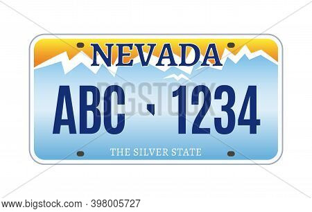American Nevada Car License Plate Vector Registration. Car Licence Vehicle Nevada State Numberplate