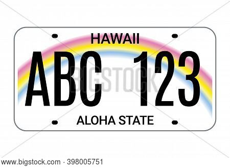Car License Hawaii Plate. Aloha State Vector License Plate Usa Template