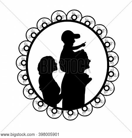 Silhouette In Frame Happy Family Mother And Father Carry Son On Shoulders. Illustration Symbol Icon