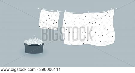 Concept Of Washing And Drying: Washed Cute White Bed Sheet And Pillowcase With Brown Polka Dots.line