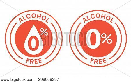 Non Alcoholic Round Icon Stamp. Zero Alcohol Sign Seal. Alcohol Free Emblem Mark Label