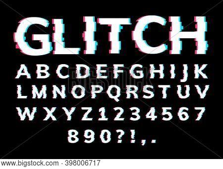 Glitch Font Letter Game Digital Pattern. Glitch Alphabet Hipster Font Cool Typography Vhs Effect
