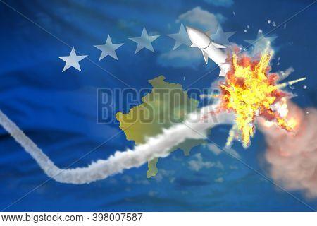 Kosovo Intercepted Supersonic Warhead, Modern Antirocket Destroys Enemy Missile Concept, Military In