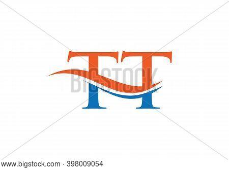 Creative And Minimalist Letter Tt Logo Design With Water Wave Concept. Tt Letter Logo Design