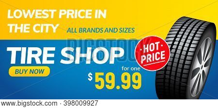 Tire Shop Voucher Banner. Tyre Sale Automotive Winter Wheel Flyer Vector Service Poster Design