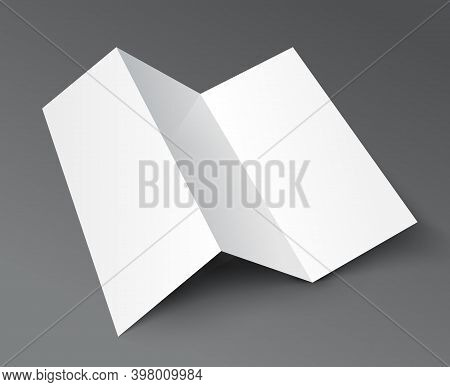 Brochure Trifold Blank Leaflet Mockup. Fold Flyer Paper Tri Fold Menu Template