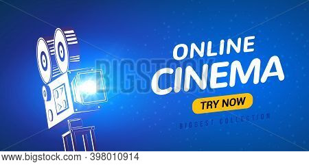 Online Cinema Poster Concept Background. Movie Film Projector Old Camera Flyer Digital Movie