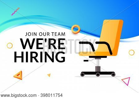 We Hire Ad Vector Concept. Hiring Job Chair Recruit Office Vacancy Ceo Banner Design