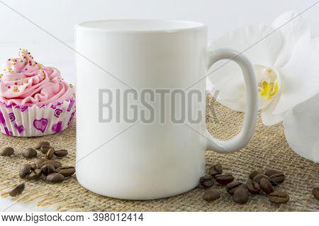 Coffee Mug Mockup With Muffin And Orhid. White Mug Mockup. Mug Product Mockup. Styled Mockup. Produc