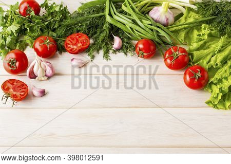 Fresh Vegetables On The Wooden Background Copy Space. Healthy Eating Background. Detox Or Vegetarian