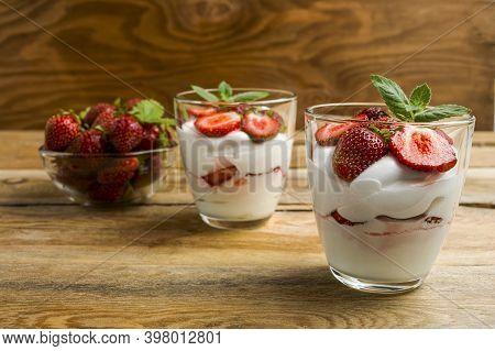 Summer Strawberries Cream Cheese Dessert. Whipped Cream With Fresh Strawberry.