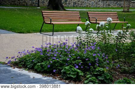 Park Benches Lined With Wood Along The Entire Wide Threshing Gravel Beige Path, Lawns, Flower Lush,