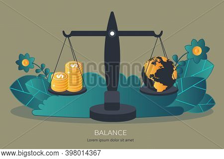 Money Balancing With World Globe On Scales. Flat Vector Illustration