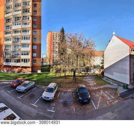 Chomutov, Czech Republic - November 06, 2020: Morning Light Between Houses With Analog Noise 400 Asa