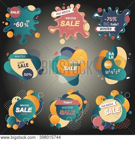 Set Of Winter Sale Banner 3d Style. For Online Shopping And Store, Marketing Material, Poster, Newsl