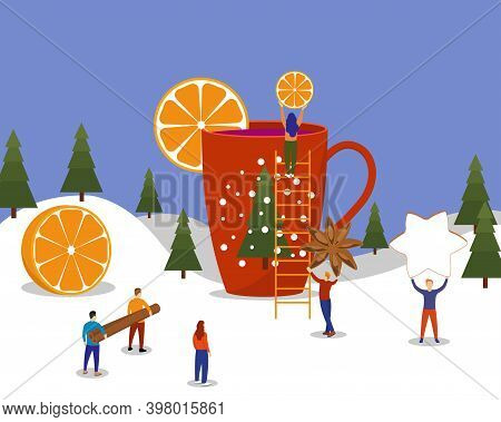 Winter Scene With A Large Mug Of Mulled Wine And Little People. Hot Drink In A Mug With An Orange Sl