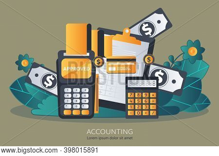 Financial Report Concept. Accounting. Flat Vector Illustration