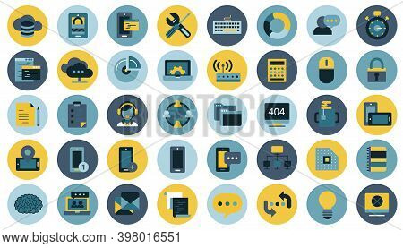 Business, Management, Finances And Technology Icon Set For Website And Mobile Applications. Flat Vec
