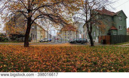 Chomutov, Czech Republic- November 11, 2020: Autum In Safarikova Street - Analog Noise
