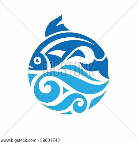 Fish And Sea Waves In Circle Shape - Concept Logo Vector Illustration. Salmon Fish Blue Icon Emblem.