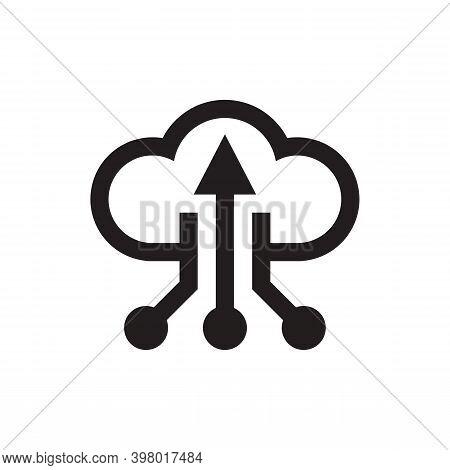 Cloud Database Hosting Icon Design On White Background. Electronic Computing Technology Sign. Server