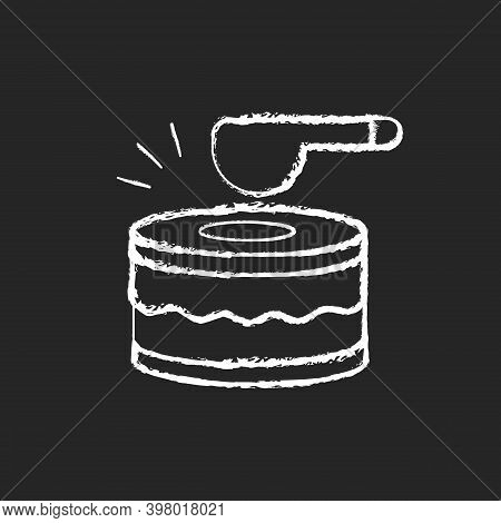 Drums Chalk White Icon On Black Background. Ramadan Music Instrument. Waking Up All People Before Du