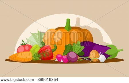 Various Vegetables On The Table: Tomato, Radish, Paprika, Pumpkin, Cabbage, Aubergine Onion Garlic C
