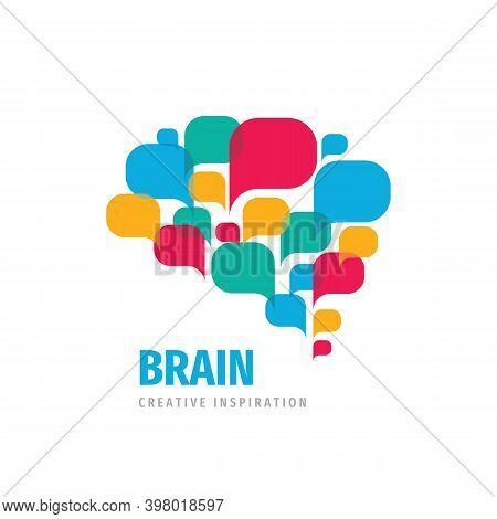 Vector Logo Brain Creative Inspiration Design. Intellect Mind Sign. Speech Bubbles. Brainstorm Commu