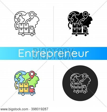 Import Icon. Linear Black And Rgb Color Styles. Freight Trucking Business, International Entrepreneu
