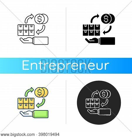 Wholesale Trade Icon. Linear Black And Rgb Color Styles. Commercial Business, Profitable Entrepreneu